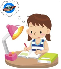 child writing scifi