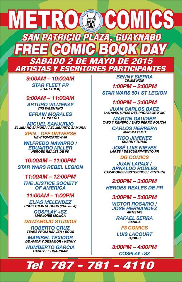 Free Comic Book Day 2015 Metro Comics schedule