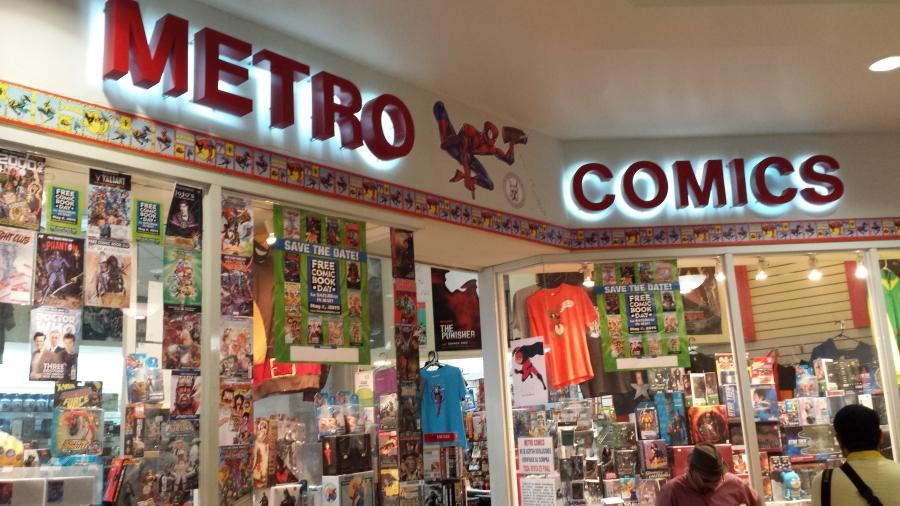 Metro Comics at San Patricio with Free Comic Book Day 2015 comic covers on display
